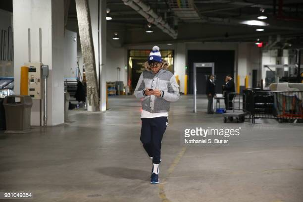 Angelo Russell of the Brooklyn Nets arrives to the arena prior to the game against the Philadelphia 76ers on March 11 2018 at Barclays Center in...