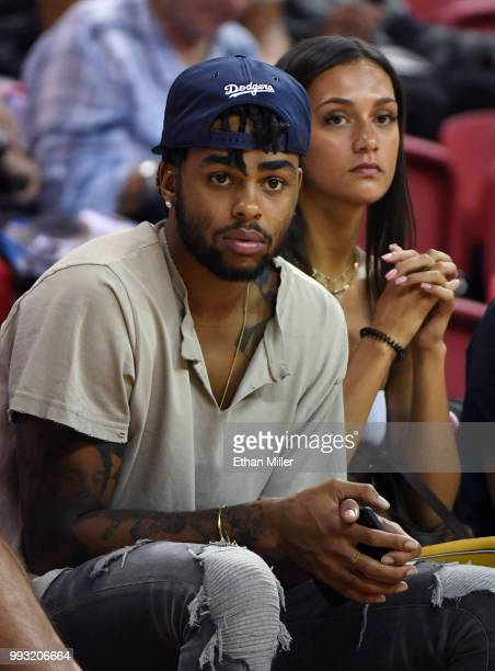 Angelo Russell of the Brooklyn Nets attends a 2018 NBA Summer League game between the Los Angeles Clippers and the Golden State Warriors at the...