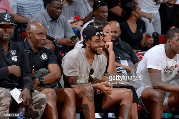 Angelo Russell of the Brooklyn Nets attends the game against the Orlando Magic during the 2018 Las Vegas Summer League on July 6 2018 at the Cox...