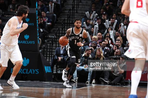 Angelo Russell of the Brooklyn Nets brings the ball up court against the LA Clippers on February 12 2018 at Barclays Center in Brooklyn New York NOTE...
