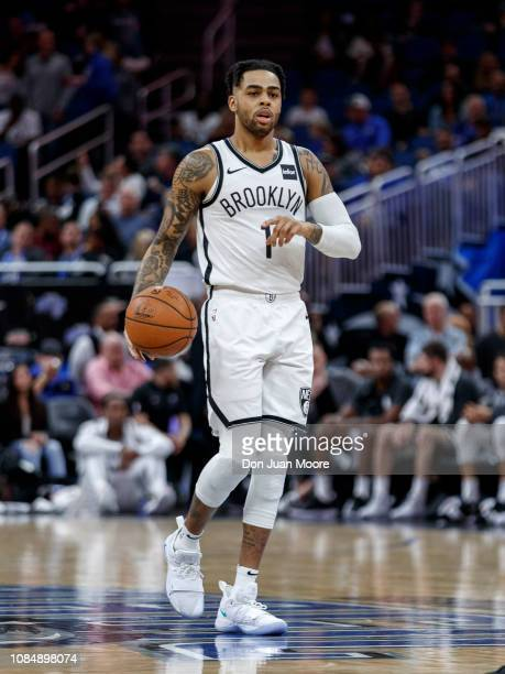 Angelo Russell of the Brooklyn Nets brings the ball up court during the game against the Orlando Magic at the Amway Center on January 18 2019 in...