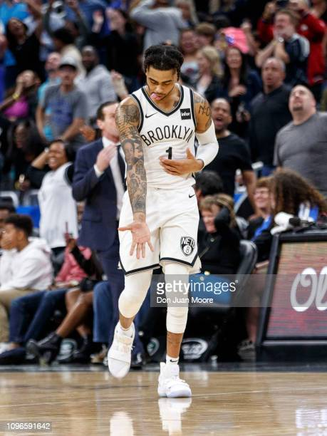 Angelo Russell of the Brooklyn Nets celebrates after hitting a 3pointer with 271 seconds left in the game against the Orlando Magic at the Amway...