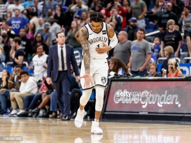 Angelo Russell of the Brooklyn Nets celebrates after making a 3pointer in the closing minutes of the game against the Orlando Magic at the Amway...