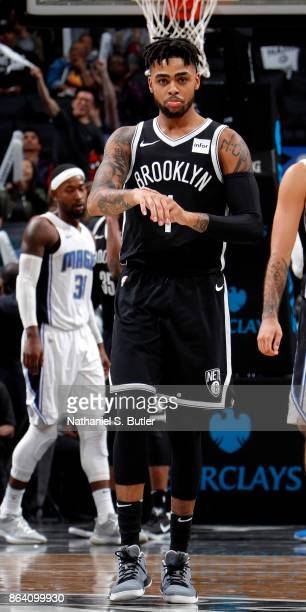Angelo Russell of the Brooklyn Nets celebrates against the Orlando Magic on October 20 2017 at Barclays Center in Brooklyn New York NOTE TO USER User...