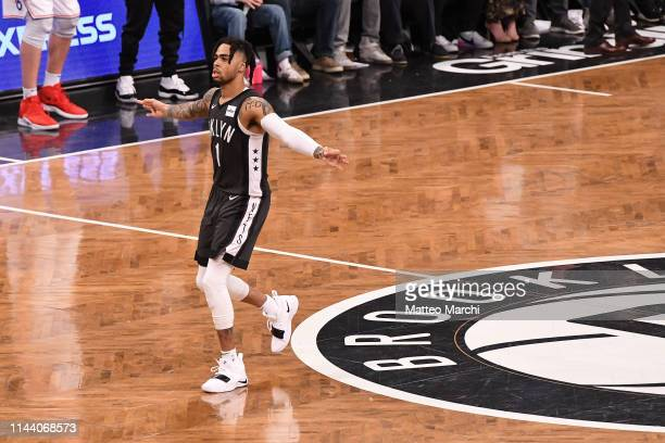 Angelo Russell of the Brooklyn Nets celebrates during the game against the Philadelphia 76ers on Game Four of Round One of the 2019 NBA Playoffs at...