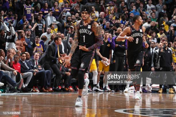 Angelo Russell of the Brooklyn Nets celebrates shot during the game against the Los Angeles Lakers on December 18 2018 at Barclays Center in Brooklyn...