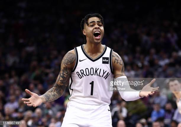 Angelo Russell of the Brooklyn Nets complains to the referees during their game against the Sacramento Kings at Golden 1 Center on March 19 2019 in...