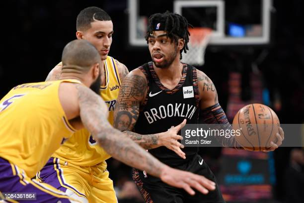 Angelo Russell of the Brooklyn Nets dribbles around Los Angeles Lakers defense during the third quarter of the game at Barclays Center on December 18...