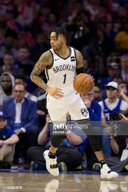 Angelo Russell of the Brooklyn Nets dribbles the ball against the Philadelphia 76ers in Game Five of Round One of the 2019 NBA Playoffs at the Wells...