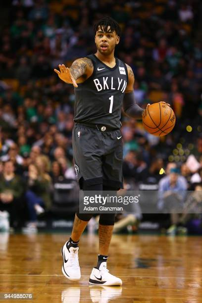 Angelo Russell of the Brooklyn Nets dribbles the ball during a game against the Boston Celtics at TD Garden on April 11 2018 in Boston Massachusetts...