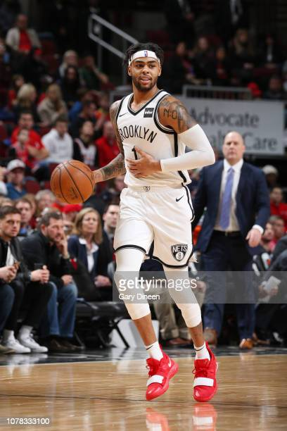 Angelo Russell of the Brooklyn Nets dribbles the ball during the game against the Chicago Bulls on January 6 2019 at the United Center in Chicago...