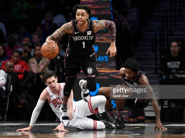 Angelo Russell of the Brooklyn Nets dribbles the ball during the first half of the game against the Chicago Bulls at Barclays Center on February 08...