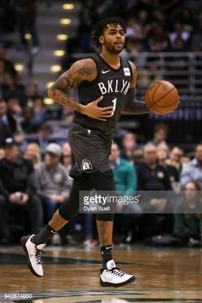 Angelo Russell of the Brooklyn Nets dribbles the ball in the second quarter against the Milwaukee Bucks at the Bradley Center on April 5 2018 in...