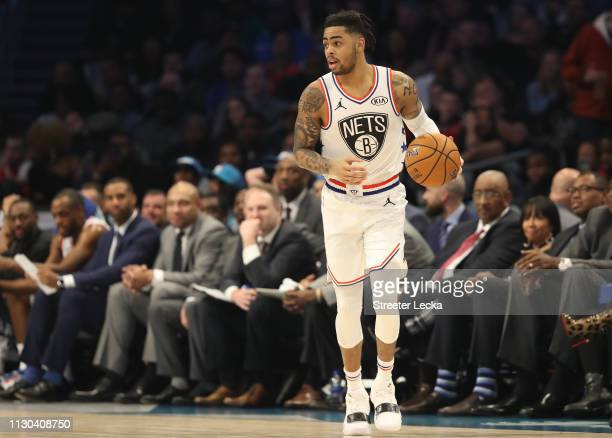 Angelo Russell of the Brooklyn Nets dribbles upcourt against Team LeBron in the first quarter during the NBA AllStar game as part of the 2019 NBA...
