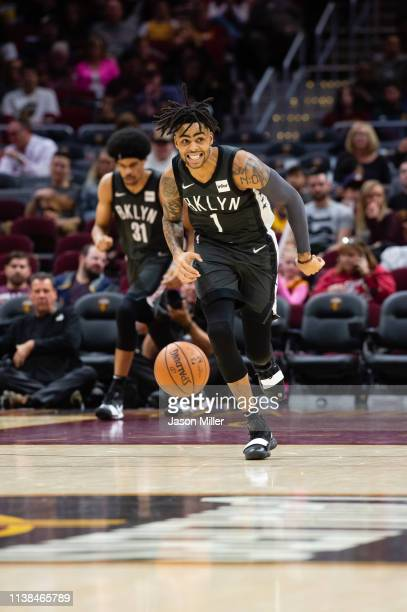 Angelo Russell of the Brooklyn Nets drives during the second half against the Cleveland Cavaliers at Quicken Loans Arena on October 24 2018 in...