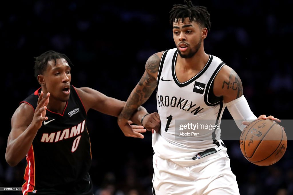 D'Angelo Russell #1 of the Brooklyn Nets drives to the basket against Josh Richardson #0 of the Miami Heat in the second half during their Pre Season game at Barclays Center on October 5, 2017 in the Brooklyn Borough of New York City.