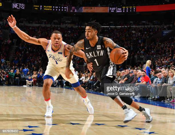 Angelo Russell of the Brooklyn Nets drives to the basket against the Philadelphia 76ers at the Wells Fargo Center on March 16 2018 in Philadelphia...