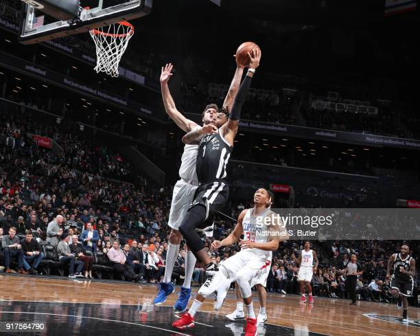 Angelo Russell of the Brooklyn Nets dunks against the LA Clippers on February 12 2018 at Barclays Center in Brooklyn New York NOTE TO USER User...