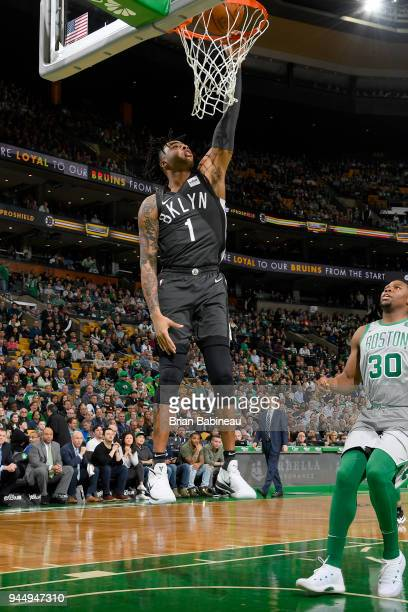 Angelo Russell of the Brooklyn Nets dunks the ball against the Boston Celtics on April 11 2018 at the TD Garden in Boston Massachusetts NOTE TO USER...
