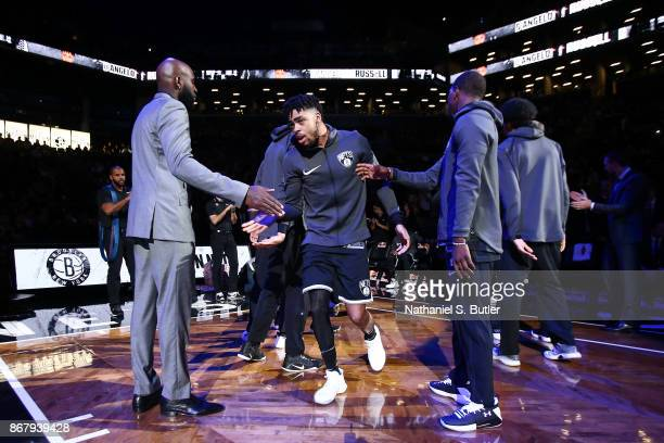 Angelo Russell of the Brooklyn Nets gets introduced before the game against the Denver Nuggets on October 29 2017 at Barclays Center in Brooklyn New...