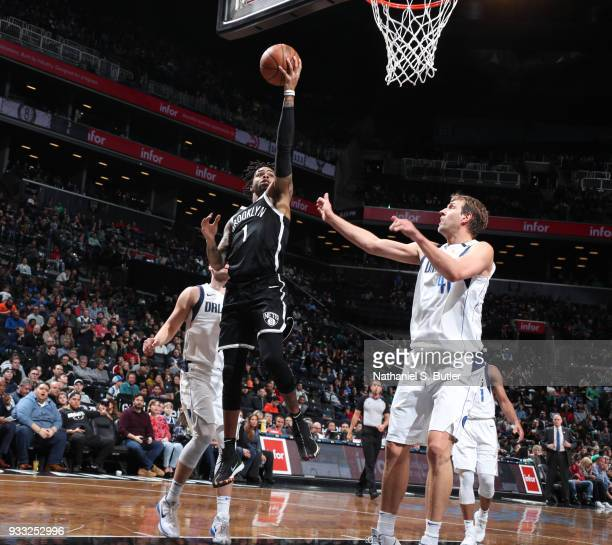 Angelo Russell of the Brooklyn Nets goes for a lay up against the Dallas Mavericks on March 17 2018 at Barclays Center in Brooklyn New York NOTE TO...
