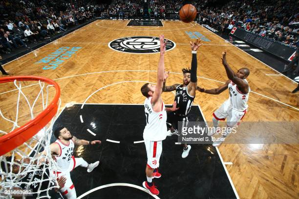 Angelo Russell of the Brooklyn Nets goes to the basket against the Toronto Raptors on March 13 2018 at Barclays Center in Brooklyn New York NOTE TO...