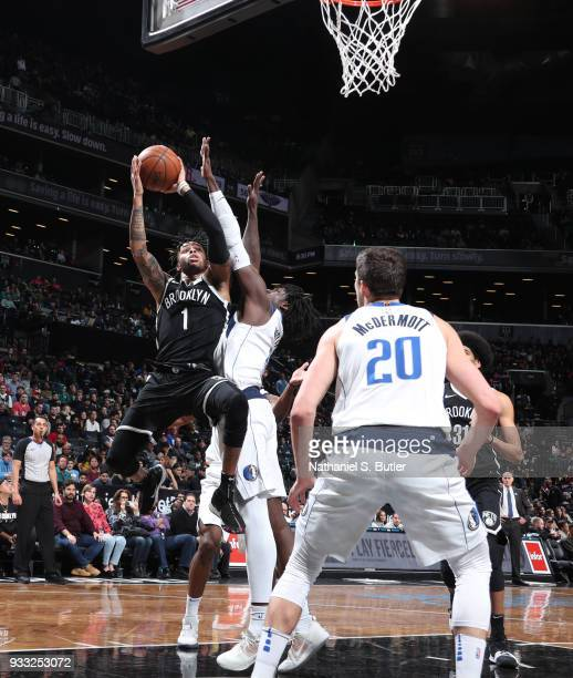 Angelo Russell of the Brooklyn Nets goes to the basket against the Dallas Mavericks on March 17 2018 at Barclays Center in Brooklyn New York NOTE TO...
