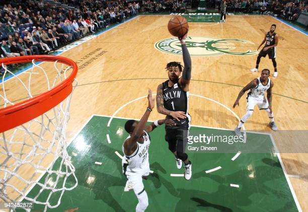 Angelo Russell of the Brooklyn Nets goes to the basket against the Milwaukee Bucks on April 5 2018 at the BMO Harris Bradley Center in Milwaukee...