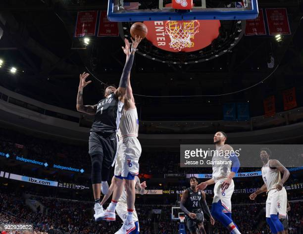 Angelo Russell of the Brooklyn Nets goes up for the layup against the Philadelphia 76ers at the Wells Fargo Center on March 16 2018 in Philadelphia...