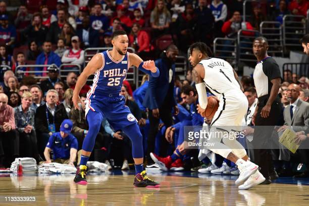 Angelo Russell of the Brooklyn Nets handles the ball against Ben Simmons of the Philadelphia 76ers on March 28 2019 at the Wells Fargo Center in...