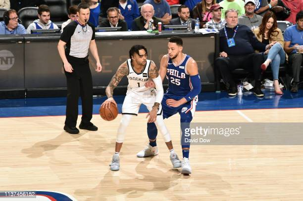 Angelo Russell of the Brooklyn Nets handles the ball against Ben Simmons of the Philadelphia 76ers in Game Two of Round One during the 2019 NBA...