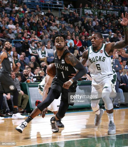 Angelo Russell of the Brooklyn Nets handles the ball against Eric Bledsoe of the Milwaukee Bucks on April 5 2018 at the BMO Harris Bradley Center in...