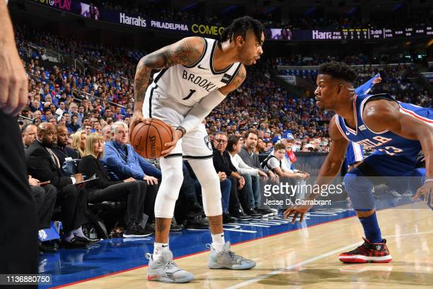 Angelo Russell of the Brooklyn Nets handles the ball against Jimmy Butler of the Philadelphia 76ers during Game One of Round One of the 2019 NBA...