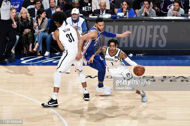 Angelo Russell of the Brooklyn Nets handles the ball against the Philadelphia 76ers in Game Two of Round One during the 2019 NBA Playoffs on April 15...