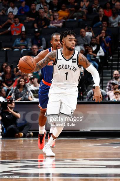 Angelo Russell of the Brooklyn Nets handles the ball against the New York Knicks during a preseason game on October 8 2017 at Barclays Center in...
