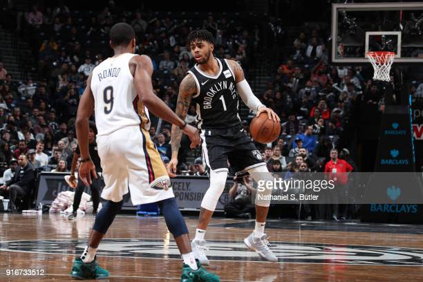 Angelo Russell of the Brooklyn Nets handles the ball against the New Orleans Pelicans on February 10 2018 at Barclays Center in Brooklyn New York...