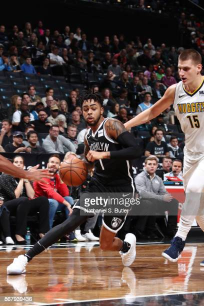 Angelo Russell of the Brooklyn Nets handles the ball against the Denver Nuggets on October 29 2017 at Barclays Center in Brooklyn New York NOTE TO...