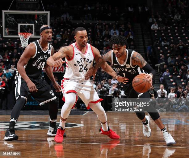 Angelo Russell of the Brooklyn Nets handles the ball against the Toronto Raptors on March 13 2018 at Barclays Center in Brooklyn New York NOTE TO...