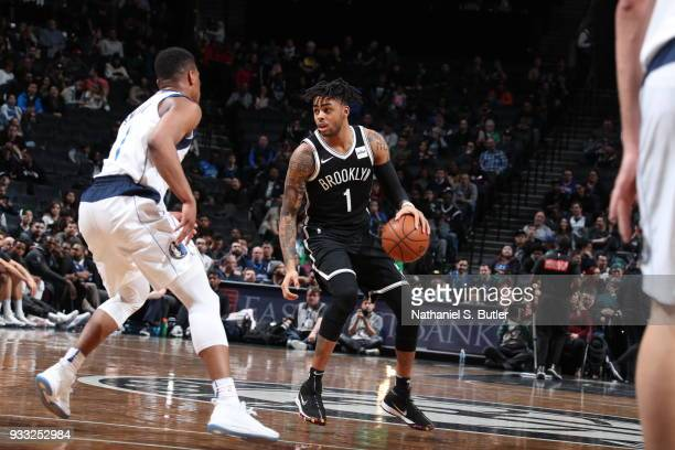 Angelo Russell of the Brooklyn Nets handles the ball against the Dallas Mavericks on March 17 2018 at Barclays Center in Brooklyn New York NOTE TO...