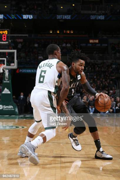 Angelo Russell of the Brooklyn Nets handles the ball against the Milwaukee Bucks on April 5 2018 at the BMO Harris Bradley Center in Milwaukee...