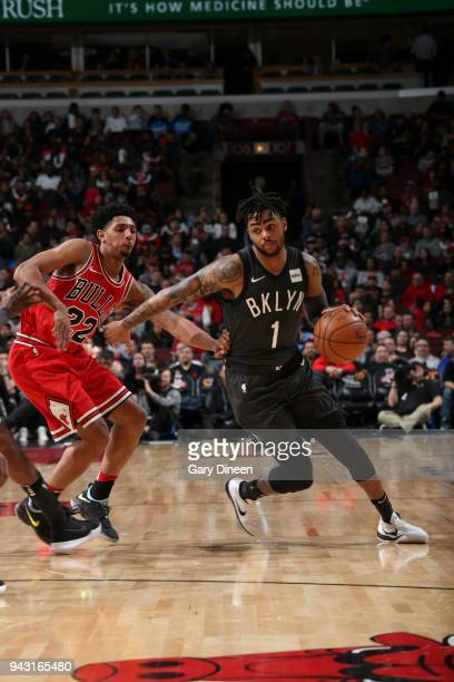Angelo Russell of the Brooklyn Nets handles the ball against the Chicago Bulls on April 7 2018 at the United Center in Chicago Illinois NOTE TO USER...