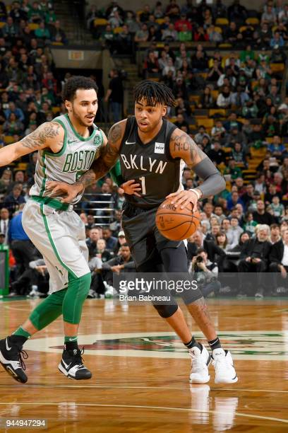 Angelo Russell of the Brooklyn Nets handles the ball against the Boston Celtics on April 11 2018 at the TD Garden in Boston Massachusetts NOTE TO...