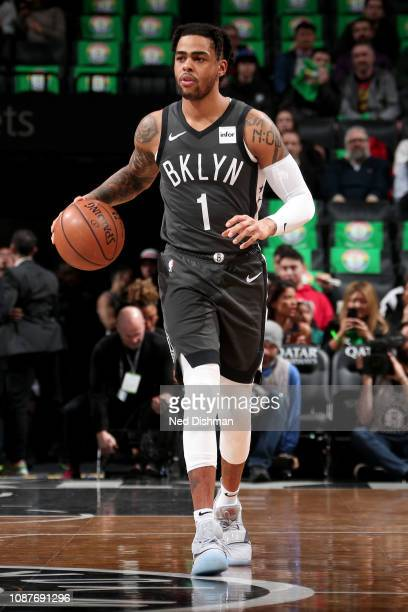 Angelo Russell of the Brooklyn Nets handles the ball during the game against the Orlando Magic on January 23 2019 at Barclays Center in Brooklyn New...