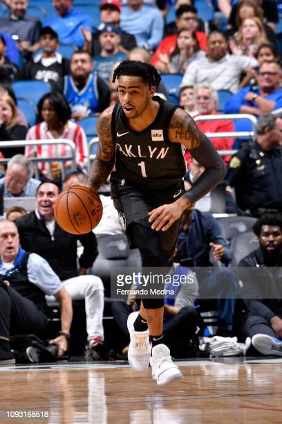 Angelo Russell of the Brooklyn Nets handles the ball during the game against the Orlando Magic on February 2 2019 at Amway Center in Orlando Florida...