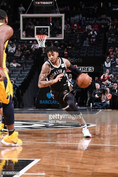 Angelo Russell of the Brooklyn Nets handles the ball during the game against the Indiana Pacers on February 14 2018 at Barclays Center in Brooklyn...