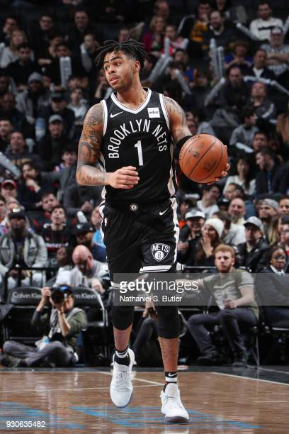 Angelo Russell of the Brooklyn Nets handles the ball during the game against the Philadelphia 76ers on March 11 2018 at Barclays Center in Brooklyn...