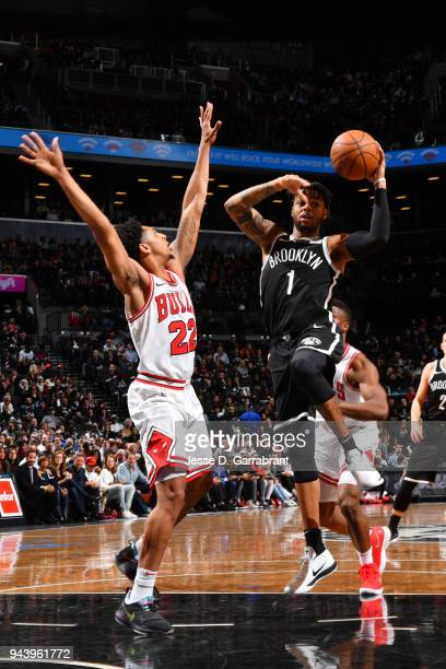 Angelo Russell of the Brooklyn Nets handles the ball during the game against the Chicago Bulls on April 9 2018 at Barclays Center in Brooklyn New...