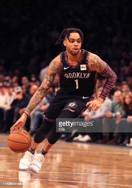 Angelo Russell of the Brooklyn Nets handles the ball in the first quarter against the Philadelphia 76ers during game three of Round One of the 2019...