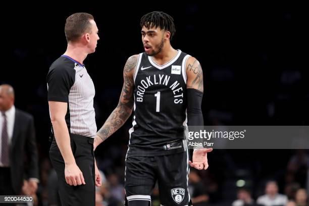 Angelo Russell of the Brooklyn Nets has a conversation with an official in the fourth quarter against the LA Clippers during their game at Barclays...