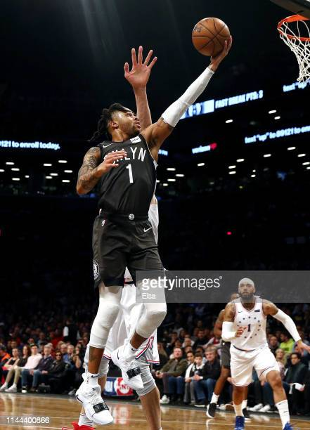 Angelo Russell of the Brooklyn Nets heads for the net in the first half against the Philadelphia 76ers at Barclays Center on April 20 2019 in the...